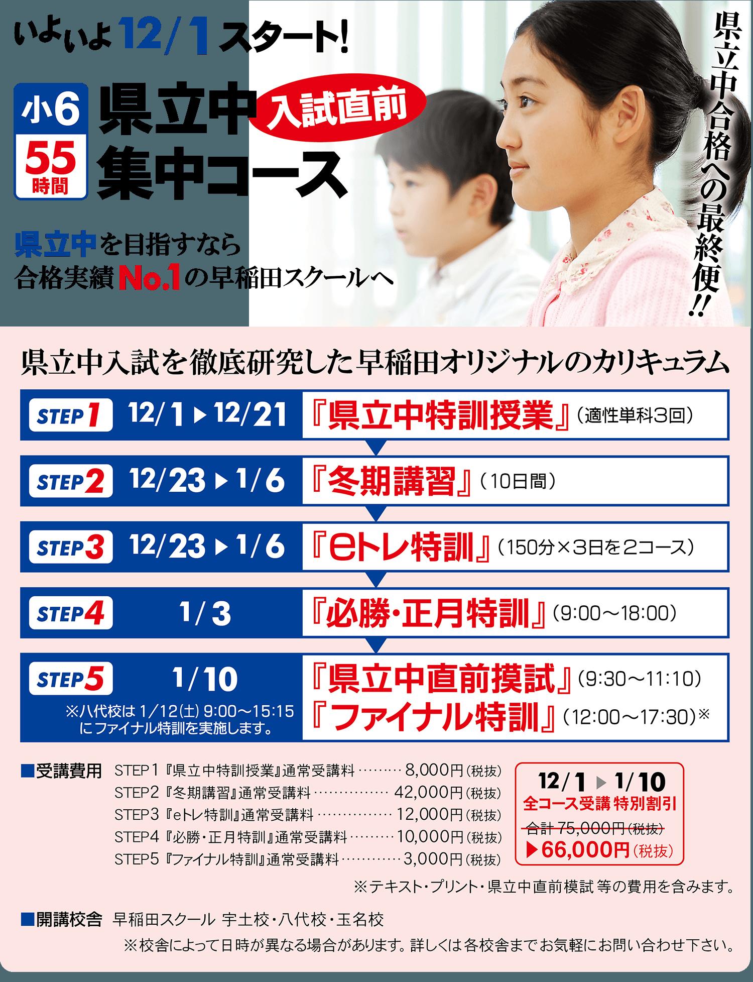 小6『県立中入試直前集中コース』